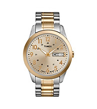 Timex® Men's Champagne Dial with Day/Date, Two-Tone Expansion Band