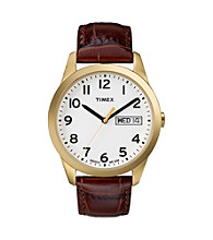 Timex® Men's White Dial with Day/Date Window, Brown Leather Strap