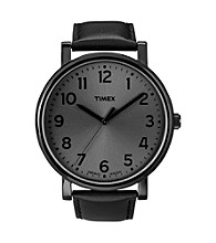 Timex® Men's Originals with Blacked-Out Classic Round Dial and Black Leather Strap