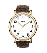 Timex® Men's Originals with White Classic Round Dial and Brown Woven Pattern Strap