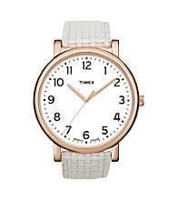 Timex® Women's Originals with White Classic Round Dial and White Woven Pattern Strap