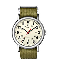 Timex® Men's Weekender Full-Size Olive Slip-Through Strap