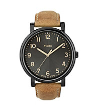 Timex® Men's Originals with Black IP Case and Tan Leather Strap