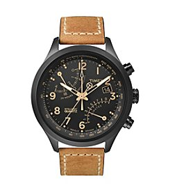 Timex® Men's Intelligent Quartz Fly-Back Chronograph with Black IP Case, Black Dial and Tan Oiled Leather Strap