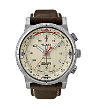 Timex® Men's Intelligent Quartz Compass with Sesame Dial and Brown Leather Strap