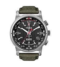 Timex® Men's Intelligent Quartz Compass with Black Dial and Olive Green Nylon Canvas Strap