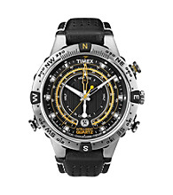 Timex® Men's Intelligent Quartz Tide-Temp-Compass with Black Dial and Black Leather Strap