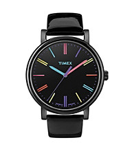 Timex® Women's Originals with Black IP Case, Rainbow Markers and Black Patent Leather Strap