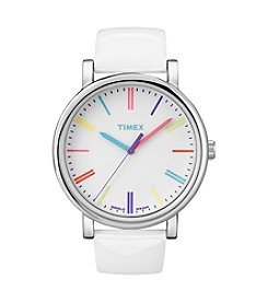 Timex® Women's Originals with White Dial, Rainbow Markers and White Patent Leather Strap