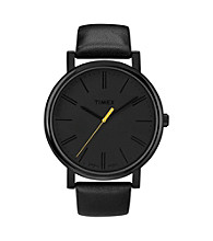 Timex® Women's Originals with Black IP Case, Blacked-Out Dial and Black Leather Strap