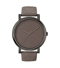Timex® Women's Originals with Gunmetal Case, Grey Dial and Grey Leather Strap