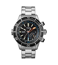 Timex® Men's Intelligent Quartz Adventure Series Depth Guage with Black Dial and Stainless Steel Bracelet
