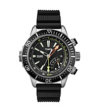 Timex® Men's Intelligent Quartz Adventure Series Depth Guage with Black Dial and Black Resin Strap