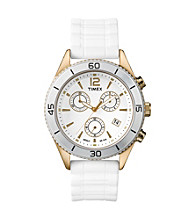Timex® Women's Originals Chronograph with Goldtone Case, White Dial and White Silicone Strap