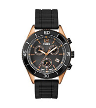 Timex® Men's Originals Chronograph with Bronze-Tone Case, Black Dial and Black Silicone Strap