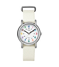 Timex® Women's Weekender Mid-Size White Slip-Through Strap