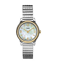 Timex® Women's Mother-Of-Pearl Dial, Two-Tone Expansion Band