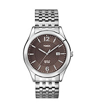 Timex® Men's Bronze Dial with Date Window, Silver-Tone Expansion Band