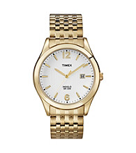 Timex® Men's White Dial with Date Window, Gold-Tone Expansion Band