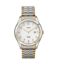 Timex® Men's White Dial with Date Window, Two-Tone Expansion Band