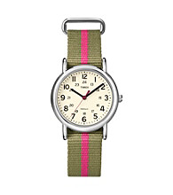 Timex® Women's Weekender Mid-Size Olive/Pink Slip-Through Strap