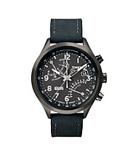 Timex® Men's Intelligent Quartz Fly-Back Chronograph with Grey Case, Black Dial and Black Leather Strap