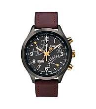 Timex® Men's Intelligent Quartz Fly-Back Chronograph with Grey Case, Black Dial and Brown Leather Strap