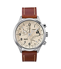 Timex® Women's Intelligent Quartz Fly-Back Chronograph with Stainless Steel Case, Cream Dial and Caramel Brown Leather Strap