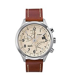 Timex® Men's Intelligent Quartz Fly-Back Chronograph with Stainless Steel Case, Cream Dial and Caramel Brown Leather Strap