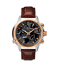 Timex® Men's Intelligent Quartz World Time with Black Dial and Brown Croco-Pattern Leather Strap