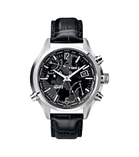 Timex® Men's Intelligent Quartz World Time with Black Dial and Black Croco-Pattern Leather Strap