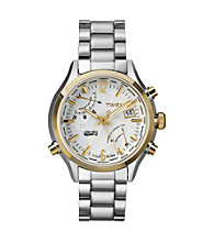 Timex® Men's Intelligent Quartz World Time with Stainless Steel Case, White Dial, Stainless Steel Bracelet