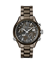Timex® Men's Intelligent Quartz World Time with Gray Finish, Charcoal Dial and Gray Finish Stainless Steel Bracelet
