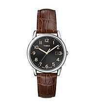 Timex® Men's Black Dial with Date Window, Dark Brown Leather Strap