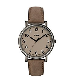 Timex® Men's Originals with Taupe Classic Round Dial and Brown Leather Strap