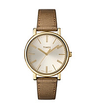 Timex® Women's Originals with Champagne Classic Round Dial and Gold Metallic Leather Strap