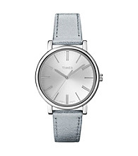 Timex® Women's Originals with Silver Classic Round Dial and Silver Metallic Leather Strap