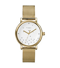 Timex® Women's Originals with White Classic Round Dial and Goldtone Mesh Band