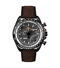 Timex® Men's Intelligent Quartz Aviator Fly-Back Chronograph Black-Finish Case, Black Dial, Brown Leather Strap
