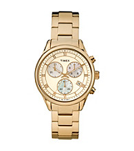 Timex® Women's Originals Chronograph, White Dial, Goldtone Stainless Steel Bracelet