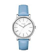 Timex® Women's Originals with White Classic Round Dial and Blue Leather Strap
