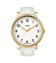 Timex® Women's Originals with White Classic Round Dial and White Leather Strap