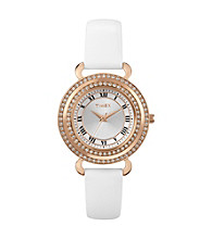 Timex® Women's Originals Rose-Gold Case, White Dial with Genuine Swarovski Crystal Bezel, White Leather Strap
