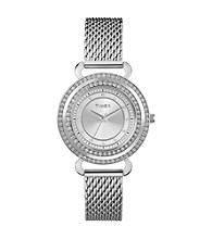 Timex® Women's Originals Silver Case,Silver Dial with Genuine Swarovski Crystal Bezel,Stainless Steel Mesh Band