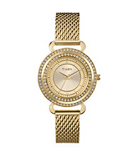 Timex® Women's Originals Gold Case, Champagne Dial with Genuine Swarovski Crystal Bezel, Gold-Tone Mesh Band
