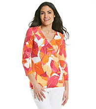 Ruby Rd.® Petites' Faux Surplice Printed Top