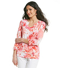 Ruby Rd.® Petites' Floral Horseshoe Neck Top