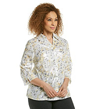 Alfred Dunner® Plus Size Shimmer Buttondown Blouse