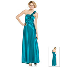 Morgan & Co. Juniors' One-Shoulder Ruffle Satin Gown