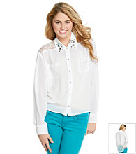 Chord® Juniors' Lace Inset Woven Top
